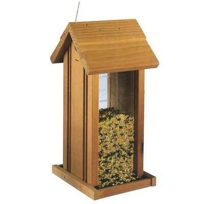 Wood Hanging Tower Birdfeeder