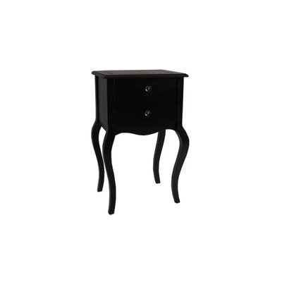 Cheap Cheungs Rattan Wooden End Table with Two Drawers in Brown and Black (HEU1063)