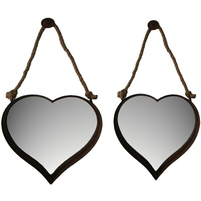 2 Piece Nesting Heart Shape Mirror Set