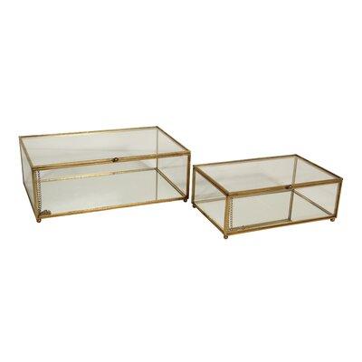 2 Piece Glass Box Set Finish: Gold 4751-2GD