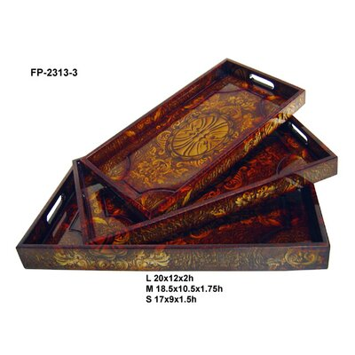 Wooden Baroque Style Tray With Side Handles (set Of 3)