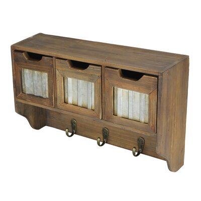 Wooden 3 Hook and 3 Top Drawers with Accent Wall Mounted Coat Rack 4567