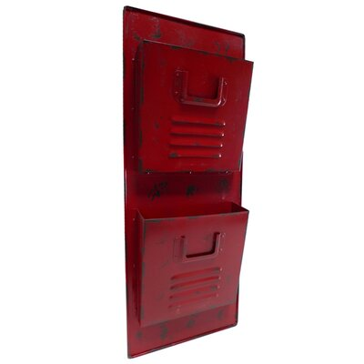 2 Tier Metal Wall File Pockets Color: Red
