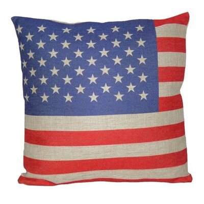 US Flag Linen Throw Pillow Size: 18 H x 18 W