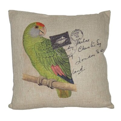 Parrot Linen Throw Pillow