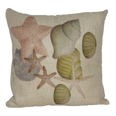 Shell and Sand Dollar Linen Throw Pillow Size: 18 H x 18 W