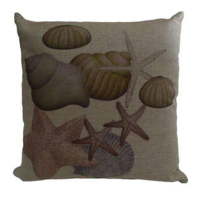 Shell and Sand Dollar Linen Throw Pillow Size: 22 H x 22 W