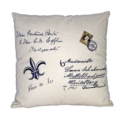 Fleur De Lis Linen Throw Pillow