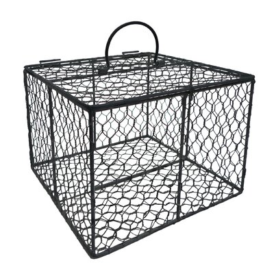 Square Chicken Wire Box with Attached Lid and Handles