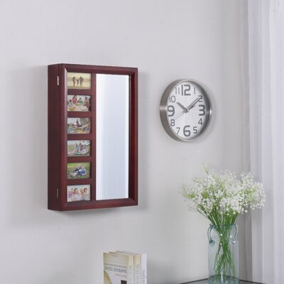 Tessa Wall Mounted Jewelry Armoire with Mirror Finish: Mahogany