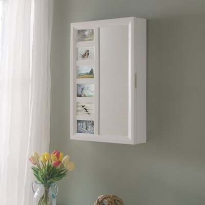 Tessa Wall Mounted Jewelry Armoire with Mirror Color: White