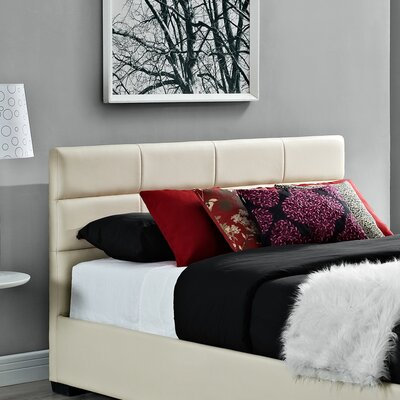 Modena Upholstered Panel Headboard Size: Full, Upholstery: Cream