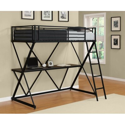 X Shaped Twin Loft Bed Color: Black Metal