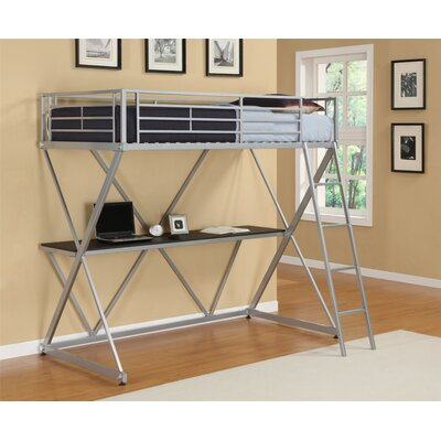 X Shaped Twin Loft Bed Color: Silver Metal