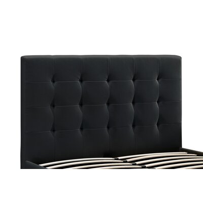 Florence Upholstered Panel Headboard Upholstery: Black, Size: Queen