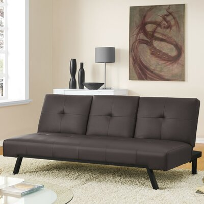 Wynn Cupholder Convertible Sofa Upholstery: Brown