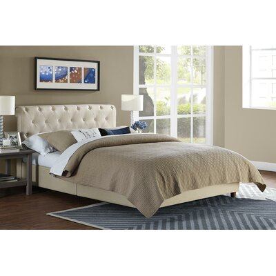 Farnsworth Upholstered Platform Bed Size: Twin, Headboard Color: Tan