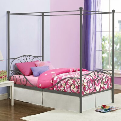 Kacey Twin Canopy Bed Finish: Pewter