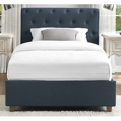 Farnsworth Upholstered Platform Bed Size: Twin, Headboard Color: Navy