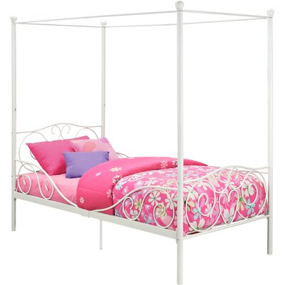 Kacey Twin Canopy Bed Finish: White