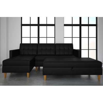 Stigall Sleeper Sectional with Ottoman Upholstery: Black