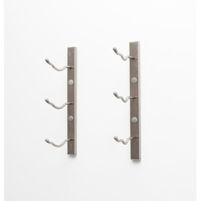 3 Bottle Metal Wall Mounted Wine Rack Finish: Brushed Nickel