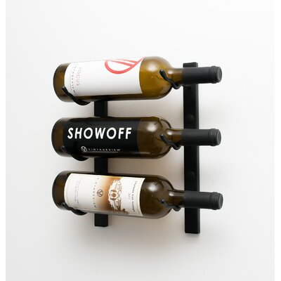 3 Bottle Metal Wall Mounted Wine Rack Finish: Satin Black
