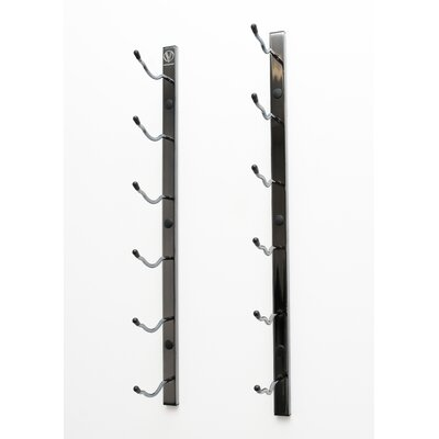6 Bottle Metal Wall Mounted Wine Rack Finish: Black Chrome