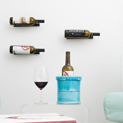 1 Bottle Metal Wall Mounted Wine Rack Finish: Satin Black