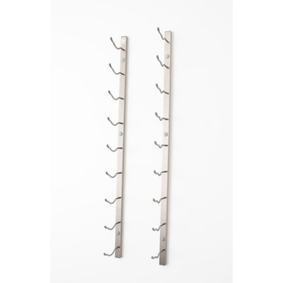 9 Bottle Wall Mounted Wine Rack Finish: Brushed Nickel