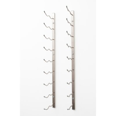 18 Bottle Wall Mounted Wine Rack Finish: Brushed Nickel