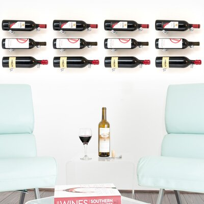 Vino Pins 12 Bottle Wall Mounted Wine Bottle Rack Finish: Milled Aluminum