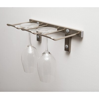 Modern Stemware Wall Mounted Wine Glass Rack Finish: Brushed Nickel