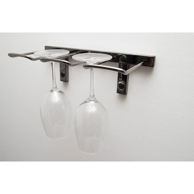 Modern Stemware Wall Mounted Wine Glass Rack Finish: Black Chrome