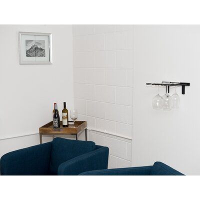 Stemware Wall Mounted Wine Glass Rack Finish: Satin Black