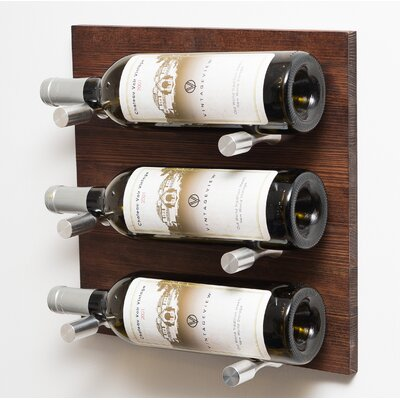 6 Bottle Wood Wall Mounted Wine Rack Finish: Milled Aluminum Rod
