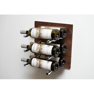 6 Bottle Wood Wall Mounted Wine Rack Finish: Milled Aluminum Rod