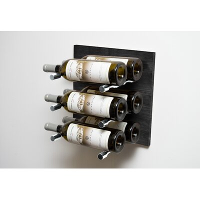 Black 6 Bottle Wall Mounted Wine Rack Finish: Milled Aluminum Rod