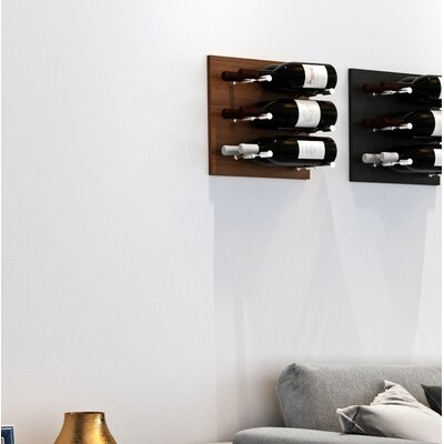 3 Bottle Wood Wall Mounted Wine Rack Finish: Milled Aluminum Rod