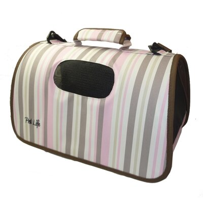 Airline Approved Zippered Folding Cage Pet Carrier Color: Stripe Pattern, Size: Medium
