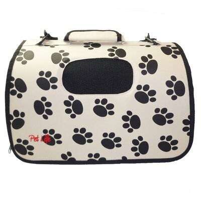 Airline Approved Zippered Folding Cage Pet Carrier Color: Paw Print Design, Size: Large