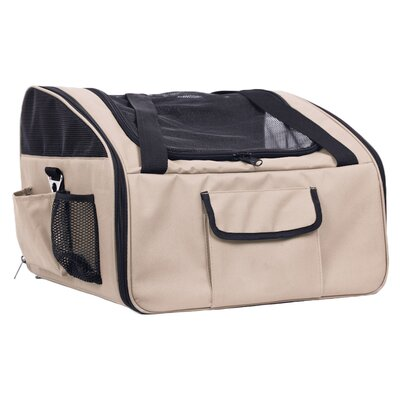 Stickney Ultra-Lock Collapsible Travel Pet Carrier Color: Khaki