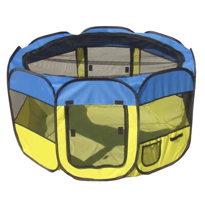 'All Terrain' Lightweight Collapsible Travel Dog Pen Size: Large, Color: Blue/Yellow