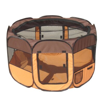 'All Terrain' Lightweight Collapsible Travel Dog Pen Size: Large, Color: Brown/Orange