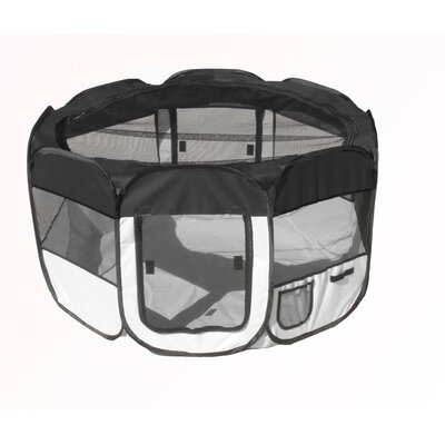 'All Terrain' Lightweight Collapsible Travel Dog Pen Size: Medium, Color: Black/White