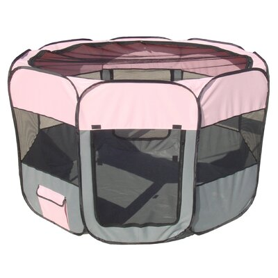 All Terrain Lightweight Collapsible Travel Dog Pen Size: Large, Color: Pink/Grey