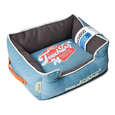 Original Sporty Vintage Throwback Reversible Plush Rectangular Dog Bed Size: Medium (21.7 L x 17.7 W), Color: Blue