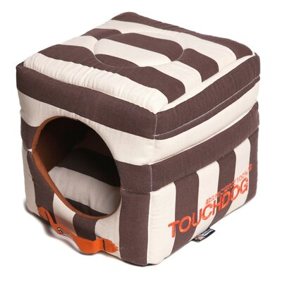 Polo-Striped Convertible and Reversible Squared 2-in-1 Collapsible Dog House Bed Color: Brown
