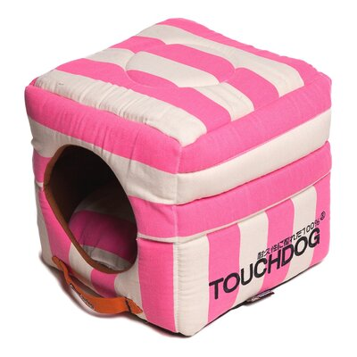Polo-Striped Convertible and Reversible Squared 2-in-1 Collapsible Dog House Bed Color: Pink