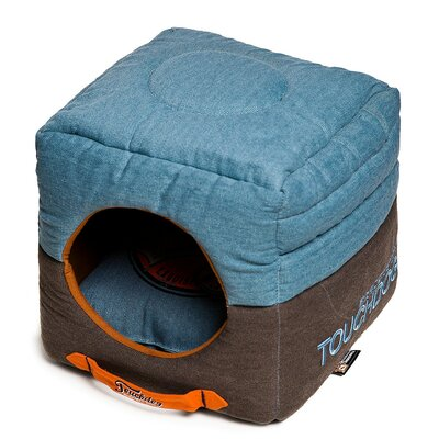 Convertible and Reversible Vintage Printed Squared 2-in-1 Collapsible Dog House Bed Color: Light Blue